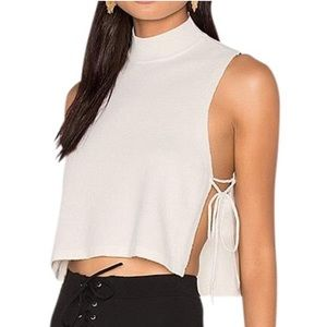 LPA Ivory Crop Turtleneck Top